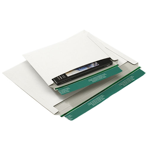 Versandtasche aus Vollpappe Quer 323x229 mm Weiß