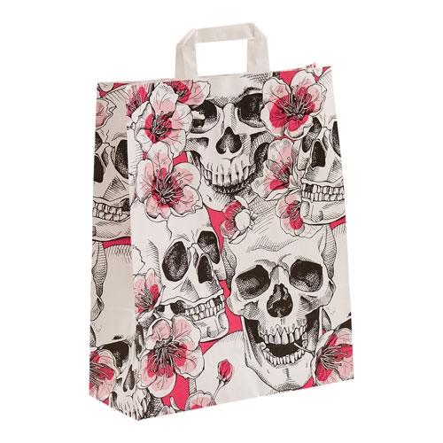 Papiertragetasche Street Skulls und Flowers