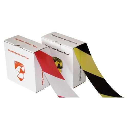 Absperrband 75 mm x 500 m im Spenderkarton Rot / Weiß