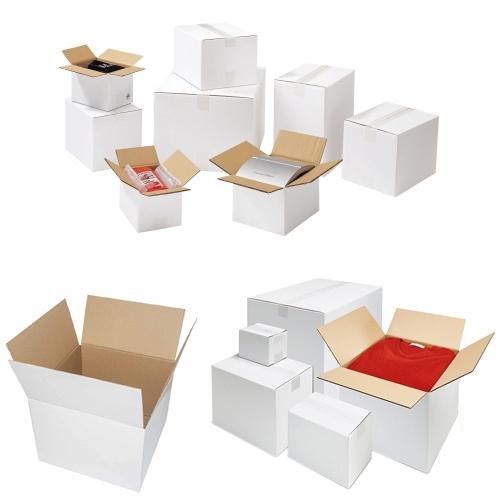 Faltkarton 400x300x200 mm - 1-wellig - Weiß