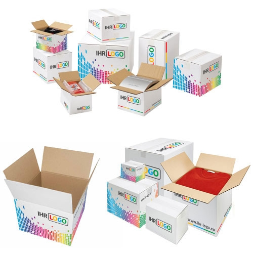Faltkarton mit Digitaldruck 300x300x300 mm - 1-wellig Weiß