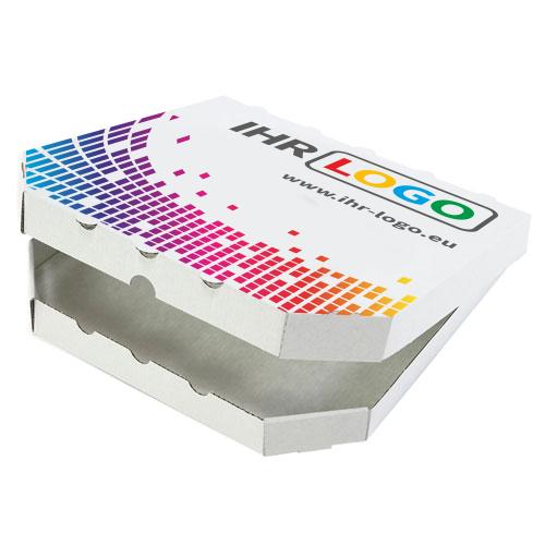 """Pizzakarton mit Digitaldruck 200x200x30 mm """"Treviso"""" Weiß"""